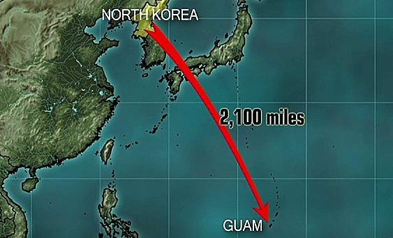 北朝鮮 グアム 地図 ルート